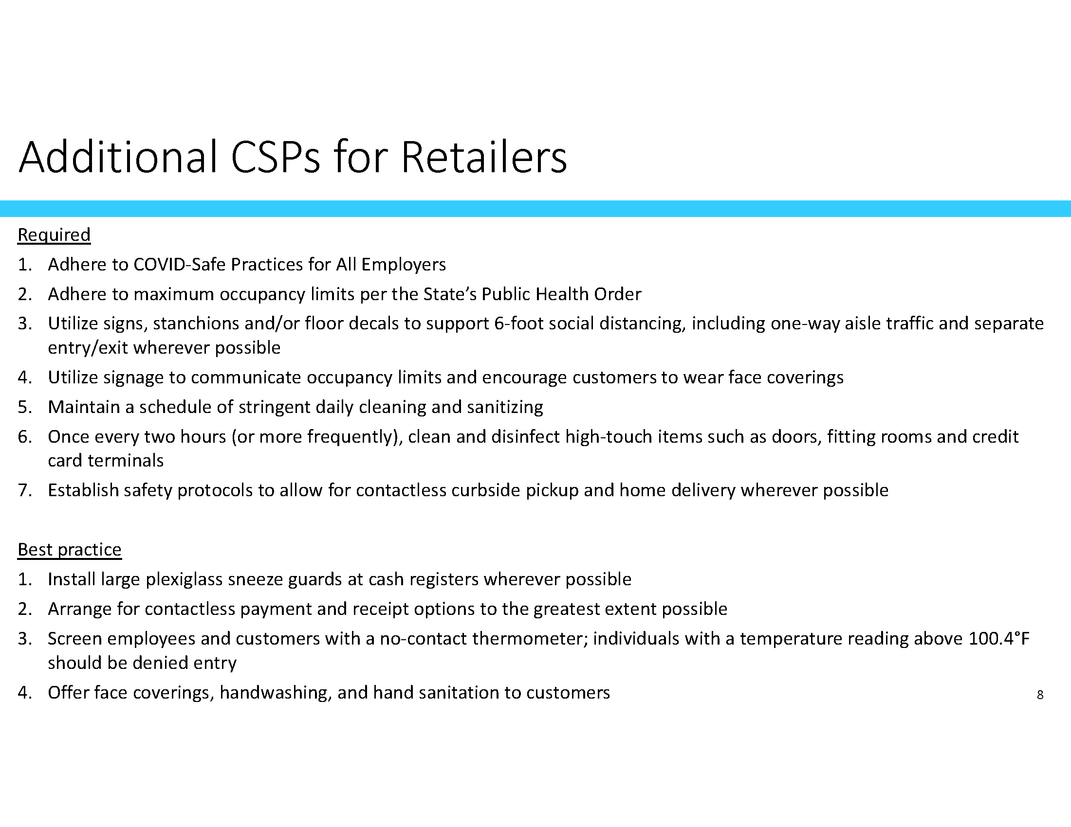 Additional CSP for retailers